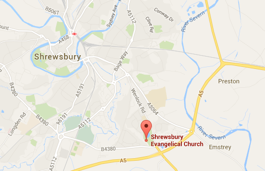 Map showing Shrewsbury Evangelical Church - click to visit full maps and location